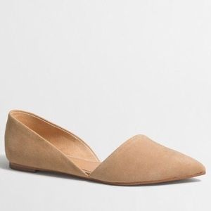 J. Crew Zoe Suede D'Orsay Flats Tan Leather 6.5